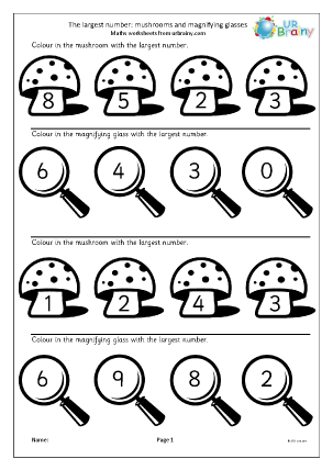 Preview of worksheet Which is the largest number? Mushrooms