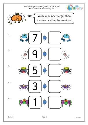 Preview of worksheet Write a larger number: creatures