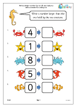 Write a larger number: sea creatures