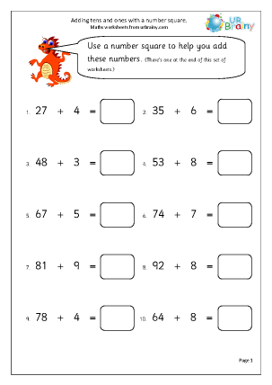 Preview of worksheet Add tens and ones with number square