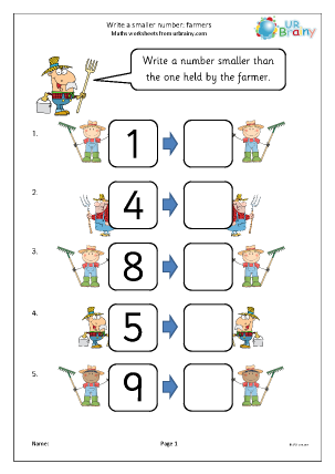 Preview of worksheet Write a smaller number: farmers