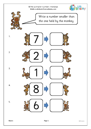 Preview of worksheet Write a smaller number: monkeys