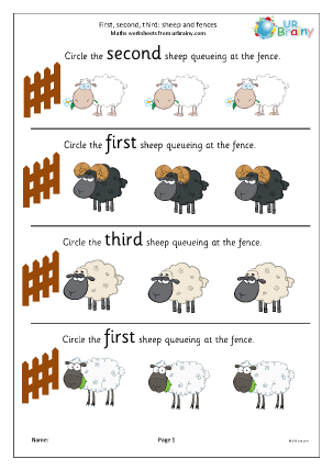 Preview of worksheet First second and third: sheep