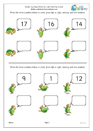 Preview of worksheet Extension: order numbers to 20 (2)