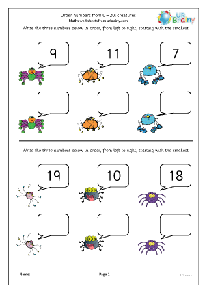 Preview of worksheet Extension: order numbers to 20 (3)