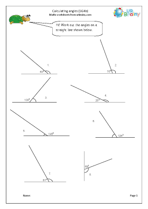 Preview of worksheet Calculate angles (5G4b)