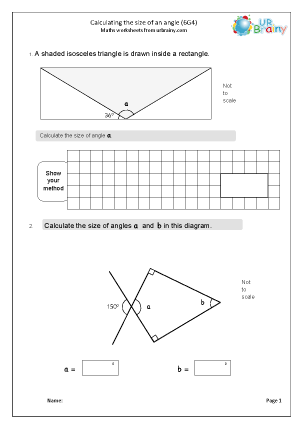 Preview of worksheet Calculate angles (6G4)