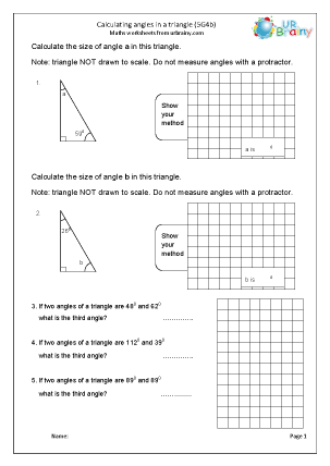 Preview of worksheet Calculate angles in a triangle (5G4b)