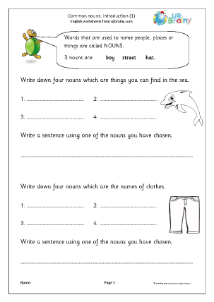 Preview of worksheet Common nouns: introduction 1 (KS1)