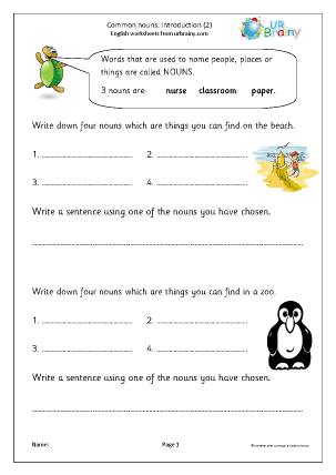 Preview of worksheet Common nouns: introduction 2 (KS1)