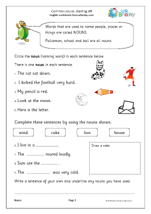 Preview of worksheet Common nouns 3 (KS1)