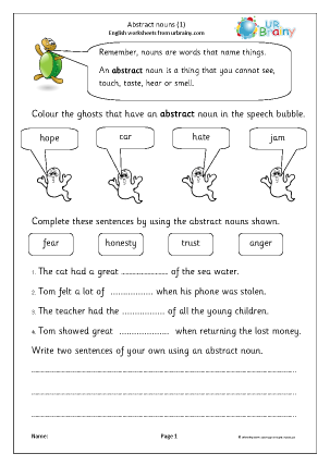 Preview of worksheet Abstract nouns (1)