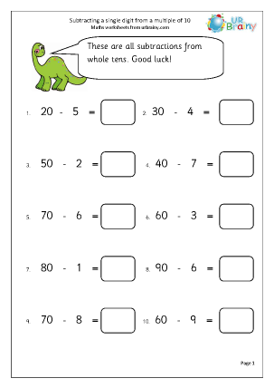 math worksheet : subtract from a multiple of 10 subtraction maths worksheets for  : Adding And Subtracting 10 Worksheets