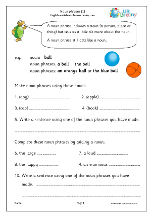 Preview of worksheet Simple noun phrases