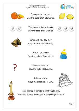 Preview of worksheet Oranges and Lemons (Rec./KS1)