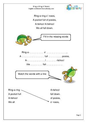 Preview of worksheet Ring a Ring o'Roses (Rec/KS1)