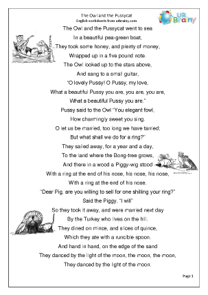 Preview of worksheet The Owl and the Pussycat (KS2)