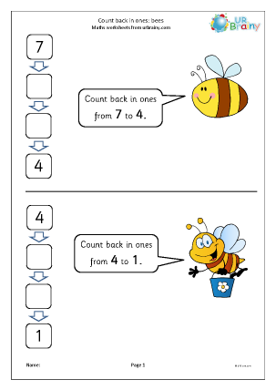Preview of worksheet Count back in ones - bees