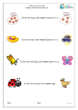 Preview of worksheet Which has more? (3)