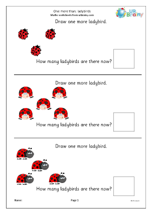 Preview of worksheet One more than - ladybirds