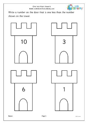 Preview of worksheet One less than-  towers