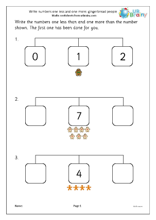 Preview of worksheet One less and one more - gingerbread people
