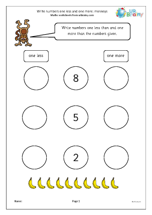 Preview of worksheet One less and one more - monkeys
