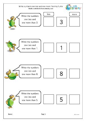 Preview of worksheet One less and one more - Tommy Turtle
