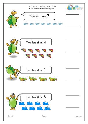 Preview of worksheet Find two less than: Tommy Turtle