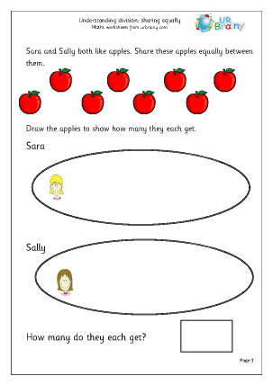 Preview of worksheet Sharing equally (1)