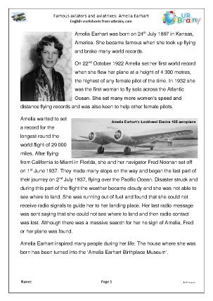 Preview of worksheet Amelia Earhart (easier)