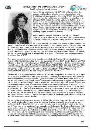 Preview of worksheet Amelia Earhart (harder)