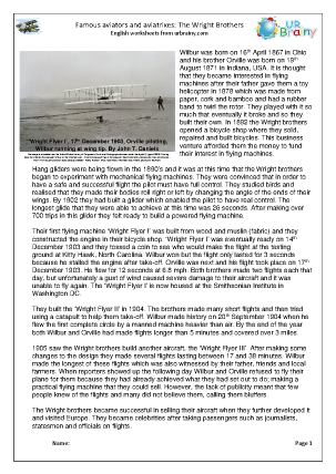 Preview of worksheet The Wright Brothers (harder)