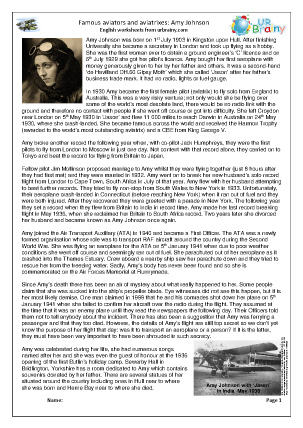 Preview of worksheet Amy Johnson (harder)