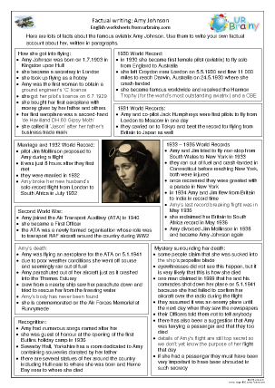 Preview of worksheet Amy Johnson