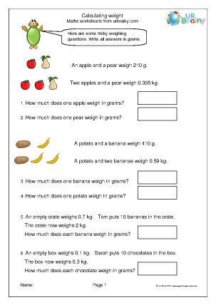 Preview of worksheet Calculating the weight of objects