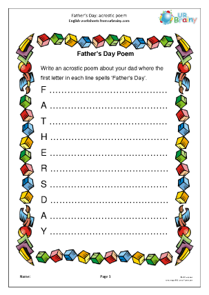 Preview of worksheet Father's Day: acrostic poem