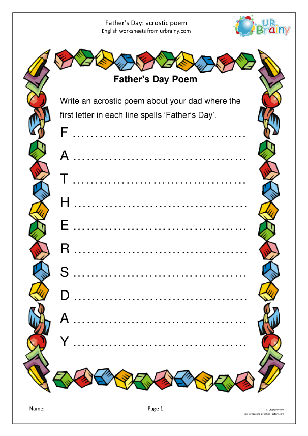 Preview of 'Father's Day: acrostic poem'