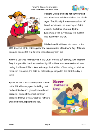 Preview of worksheet Father's Day