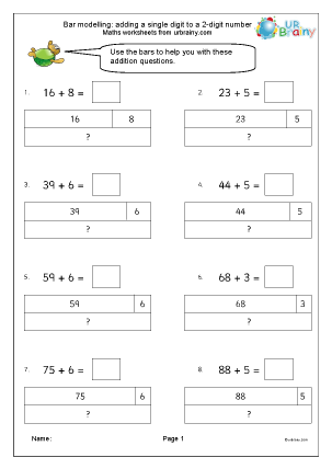 Preview of worksheet Bar modelling: add one digit to two digits