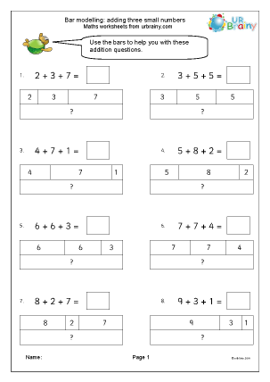 Preview of worksheet Bar modelling: add three small numbers