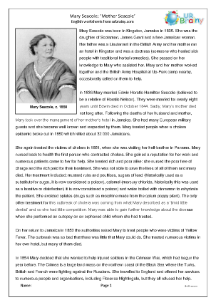 Preview of worksheet Mary Seacole (harder)