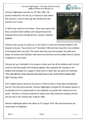 Preview of worksheet Florence Nightingale (easier)