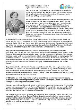 Preview of worksheet Mary Seacole (medium)