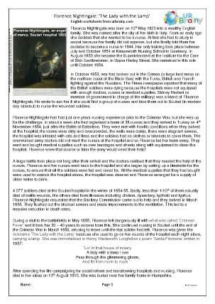 Preview of worksheet Florence Nightingale (medium)