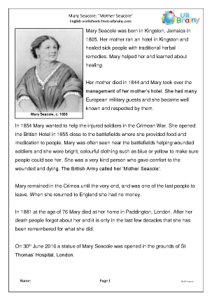 Preview of worksheet Mary Seacole (easier)