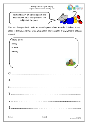Preview of worksheet Acrostic poems (2)