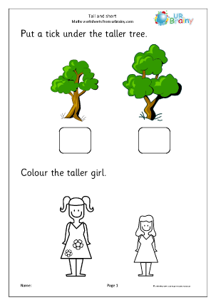 Preview of worksheet Taller and shorter (1)