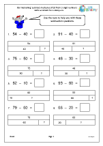 Bar modelling: subtract multiples of 10 from 2-digit numbers