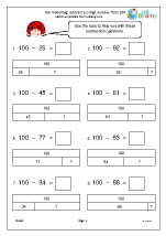 Bar modelling: subtract a 2-digit number from 100